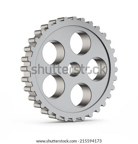 3d metal cog gear isolated white background with clipping path - stock photo