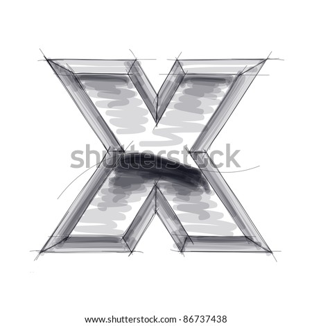 3d metal letters sketch - X. Bitmap copy my vector - stock photo