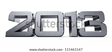 3D metal new year 2013... - stock photo