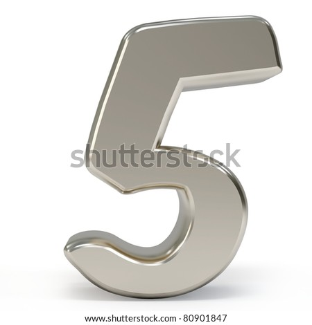 3d metal number isolated on white background - stock photo