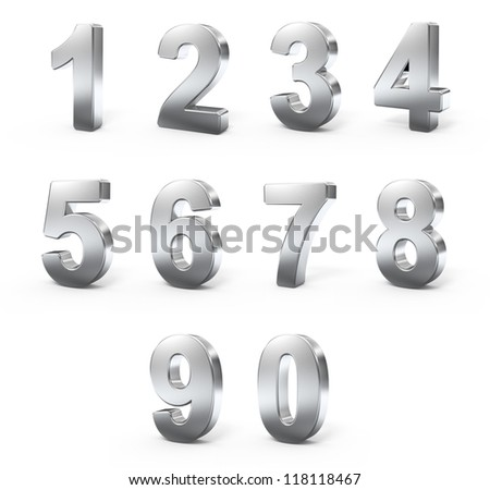 3d Metal numbers - stock photo