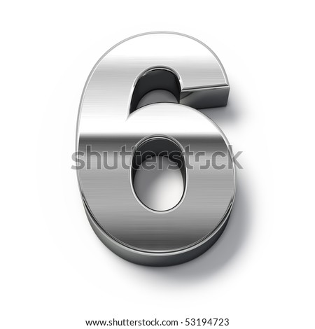 3d Metal numbers - number 6 - stock photo