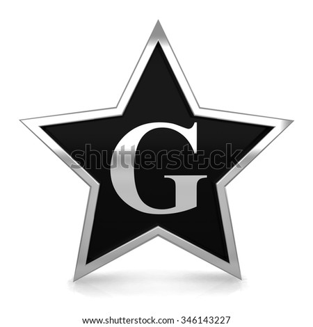 3d metal star alphabet with silver letter G render - stock photo