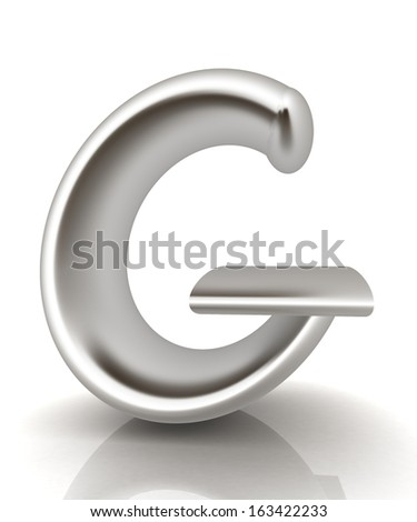 "3D metall letter ""G"" isolated on white  - stock photo"