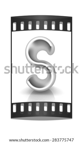"3D metall letter ""S"" isolated on white. The film strip - stock photo"