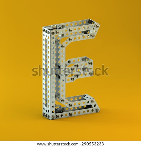 3d metallic constructor  font  letter E - stock photo