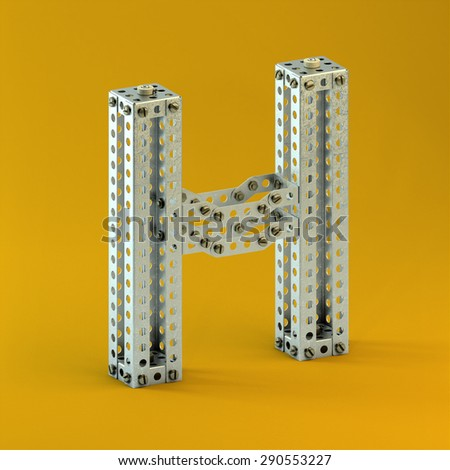 3d metallic constructor  font  letter H  - stock photo