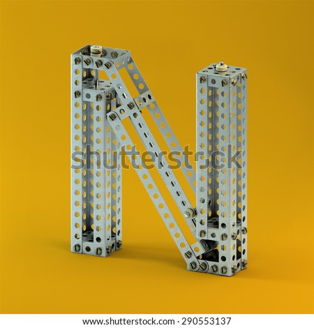 3d metallic constructor  font  letter N - stock photo