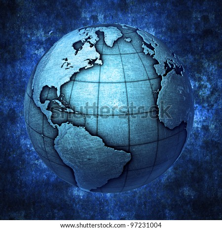 3D metallic Earth globe background - stock photo