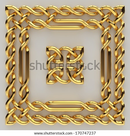 3d metallic gold Celtic frame border and sign, banner design elements set isolated  - stock photo