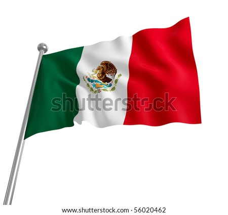 3d mexican flag on white background - stock photo