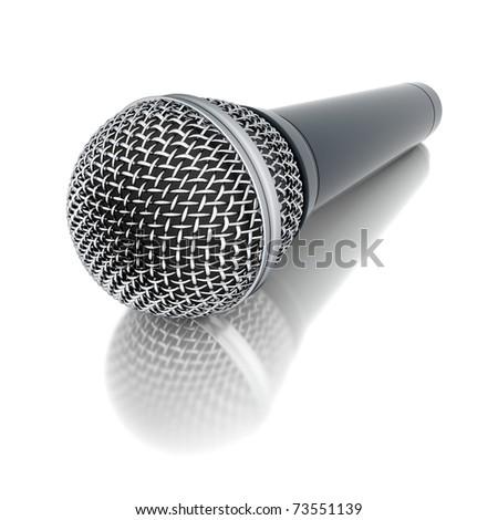 3d microphone on mirror floor - stock photo