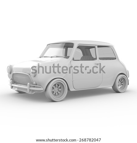 3d mini car isolated on white background - stock photo