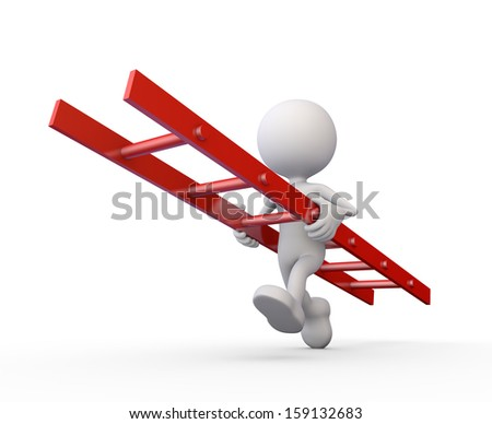 3d minimalistic human - running around with a red ladder - stock photo