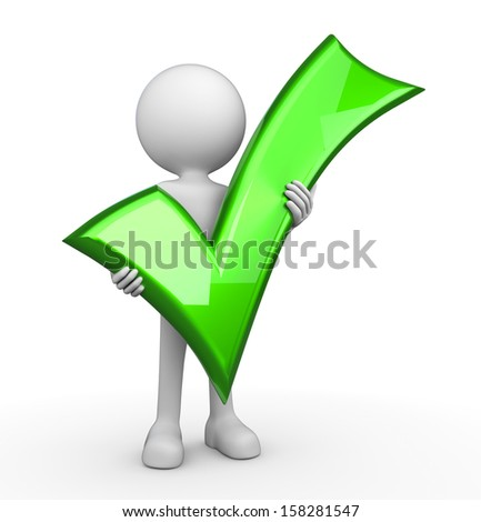 3d minimalistic person - green tick - stock photo
