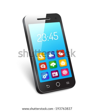 3d mobile phone  cellphone  or smartphone with a reflective blue screen showing the time and icons for social media networking  home  camera  organizer  analytic cloud computing  and a globe - stock photo