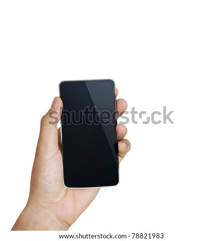 3d  Mobile phone in hand - stock photo