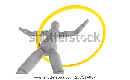 3d model doll turns shiny yellow band at the waist. Arms spread wide. Bottom view - stock photo