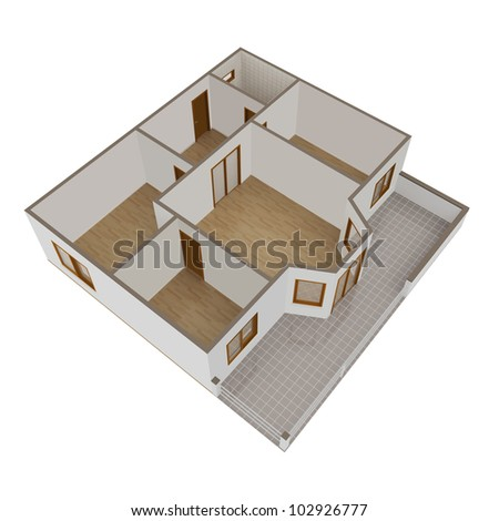 3D model flat with balcony on a white background - stock photo
