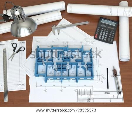 3D model floor of the house on the desktop architect. 3D rendering - stock photo