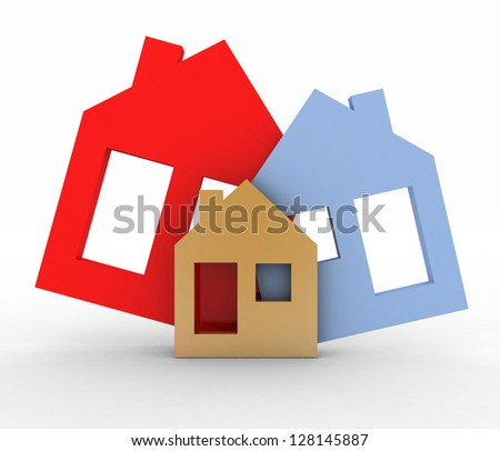 3d model house symbol set - stock photo