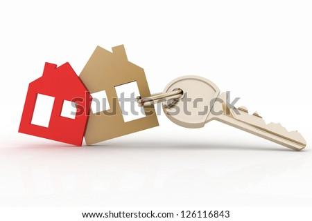 3d model house symbol set and key - stock photo