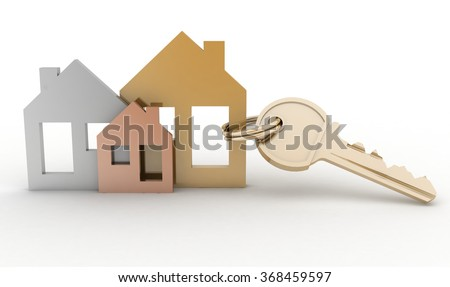 3d model house symbol set and key - stock photo