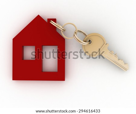 3d model house symbol with key - stock photo