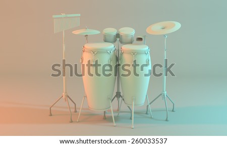 3D model of a percussion kit on an empty white room. A percussion set that contains instrument such as congas, cymbals, bongos, cowbell . Created with 3d software, white color for a minimalist mood. - stock photo