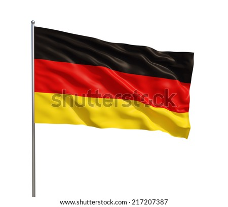 3d model of a waving German flag. isolated on white background. - stock photo