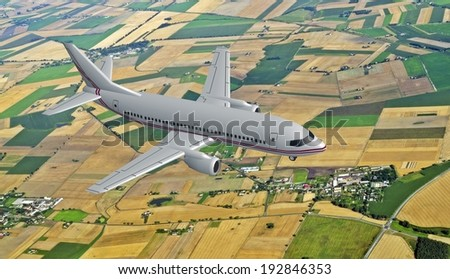3d model of airplane above the rural landscape - stock photo