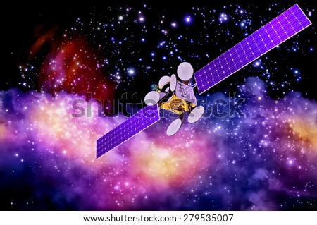 3D model of an artificial satellite of the Earth, equipped with solar panels and parabolic satellite communications antenna against the old nebula's background - stock photo