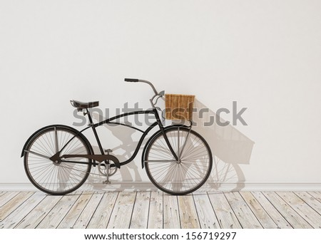 3d model of black retro bicycle with basket in front of the white wall, background - stock photo