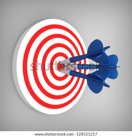 3D model of darts hit accurate on the red and white band target - stock photo