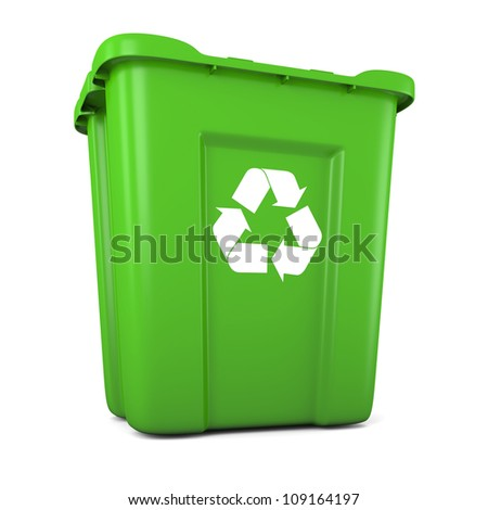 3D model of empty green plastic recycle bin - stock photo