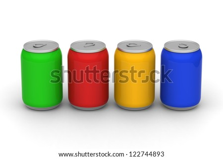 3D model of four color soft drink cans - stock photo