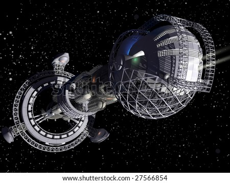 3D model of futuristic space ship in interstellar travel background - stock photo
