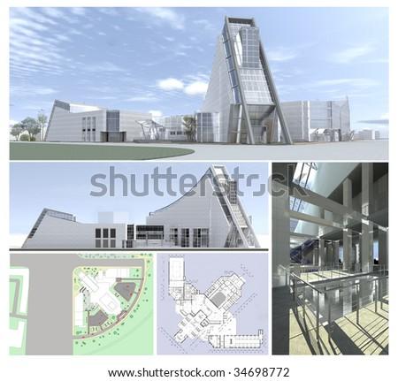 3d model of hi-tech building - stock photo