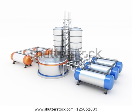 3d model of refinery - stock photo