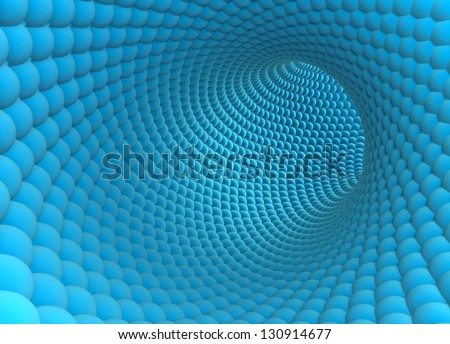 3D model of the nanotube made of thousand spheres - stock photo