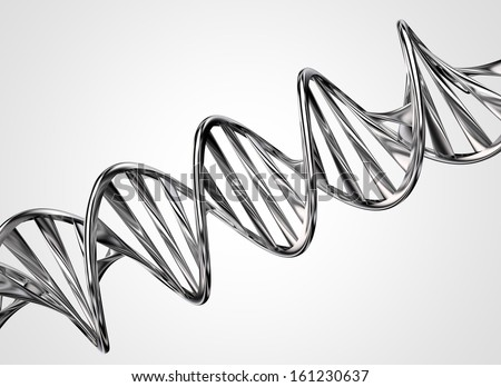 3D model of twisted chrome metal DNA chain - stock photo