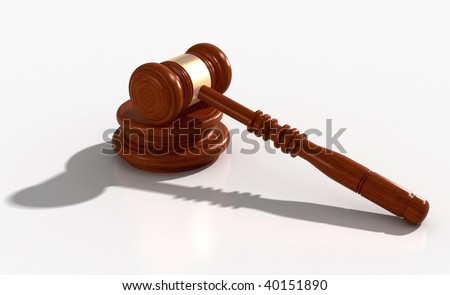 3D Model of wood and metal gavel with clipping path included in file on white - stock photo