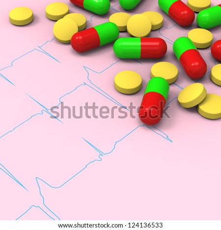 3D model of yellow pills and red green capsules on abnormal electrocardiogram (ECG) report - stock photo