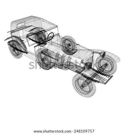 3d model retro car - stock photo
