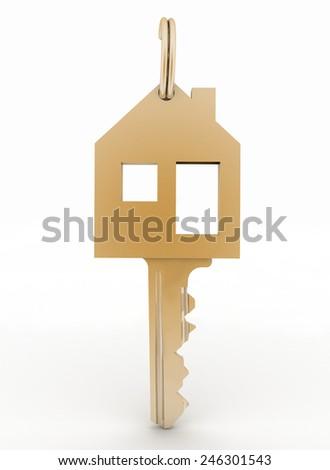 3d model  symbol house key - stock photo