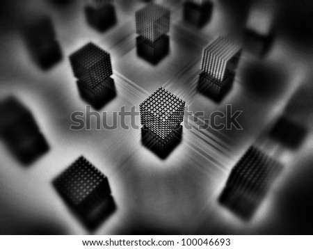 3D-modeled interlinked sets of cubes representing notions such as internet, network, database, or computer systems - stock photo