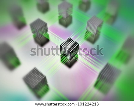 3D-modeled interlinked sets of cubes representing the notion of communication - stock photo