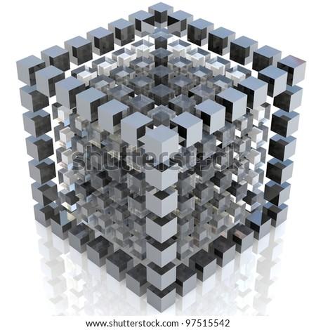 3D-modeled set of cubes - stock photo