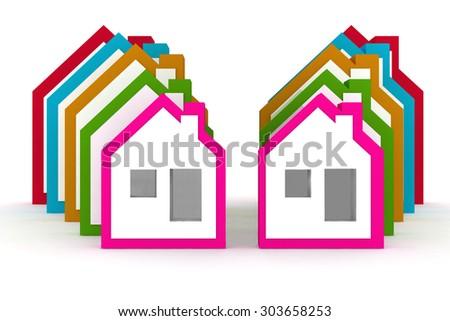 3d models houses symbol - stock photo