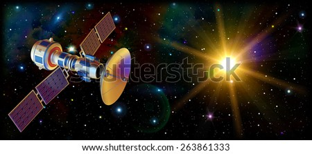 3d models of an artificial satellite in space. Standalone space station in Earth orbit. Supervisory research spy probe. Data from space. Starship. - stock photo